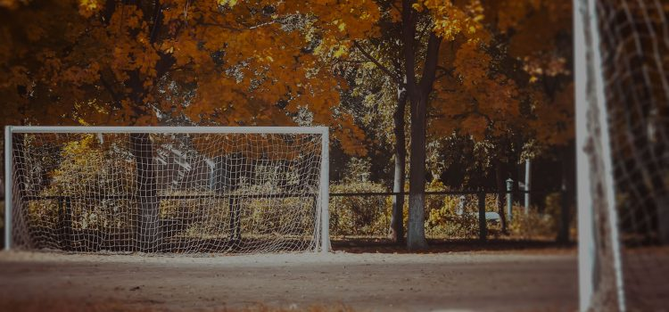 Soccer field in the USA in fall.