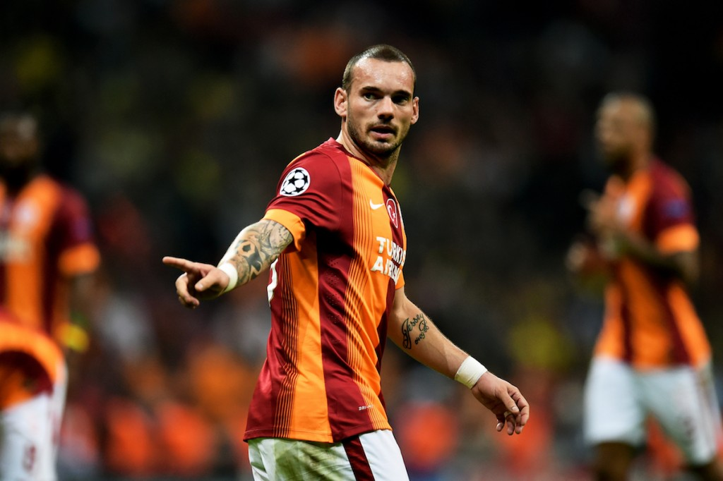 Sneijder for Galatasaray during a Champions League game against Borussia Dortmund, October, 2014. Photo: Lars Baron / Staff