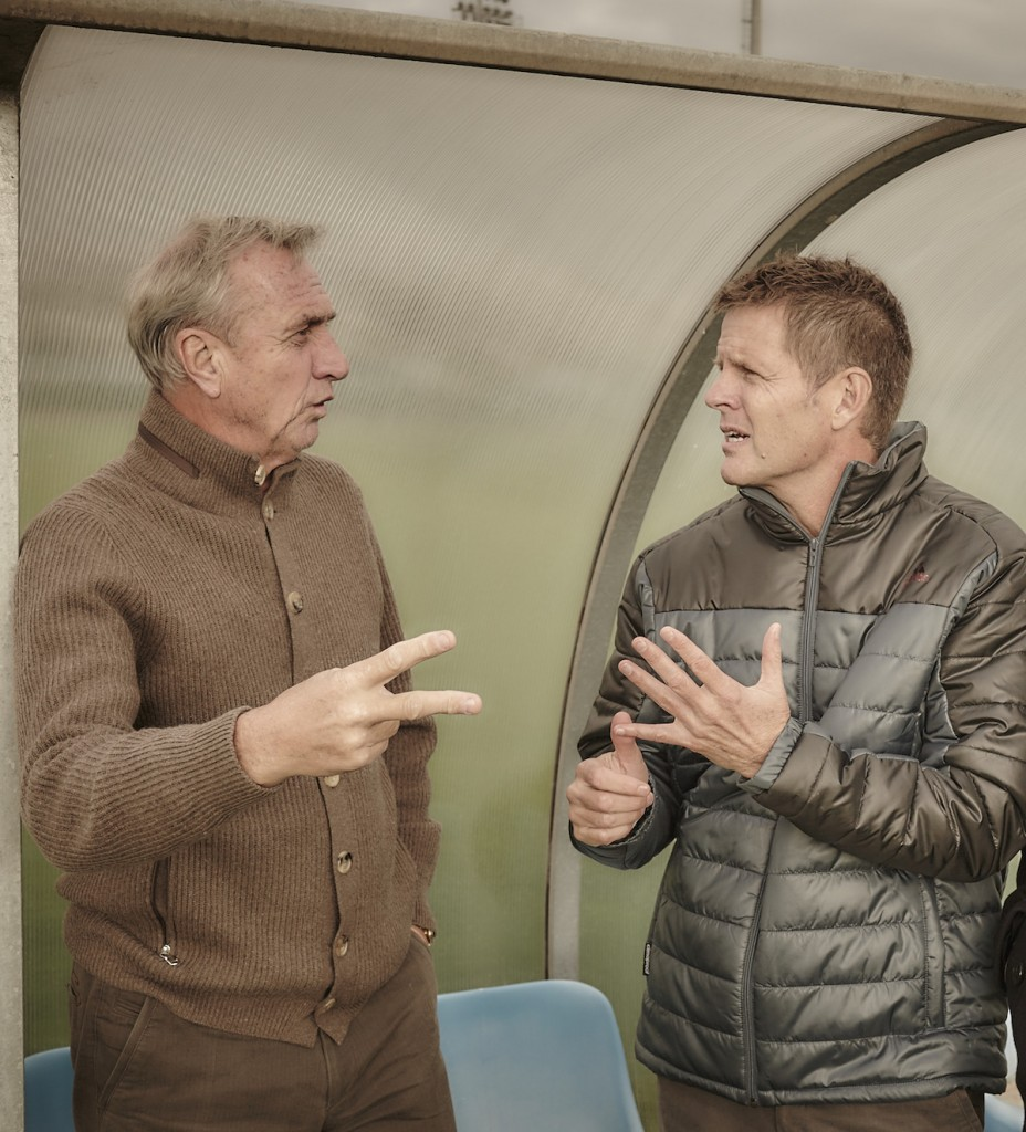 Johan Cruyff (left) with Todd Beane during a recent visit to FC Barcelona.