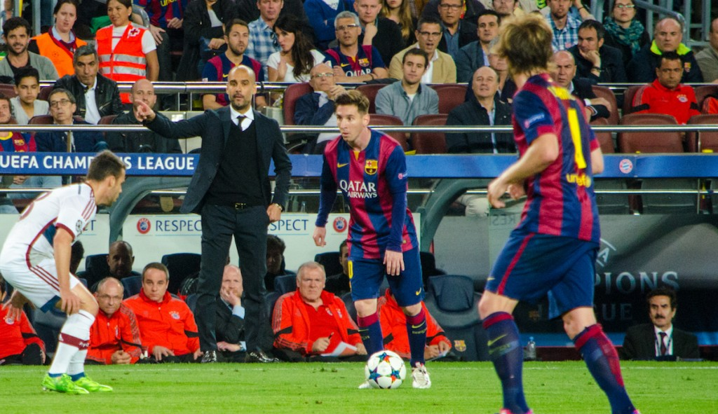 Messi (centre) for Barcelona in their recent Champions League semi- final victory over Bayern Munich where he scored 2 goals. Photo: Marc Puig i Perez