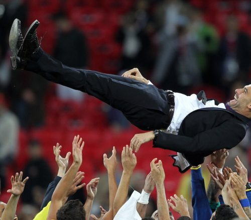 Pep Guardiola celebrates during his time at FC Barcelona. Key characteristics of The World's Best Coaches Photo: David Barker
