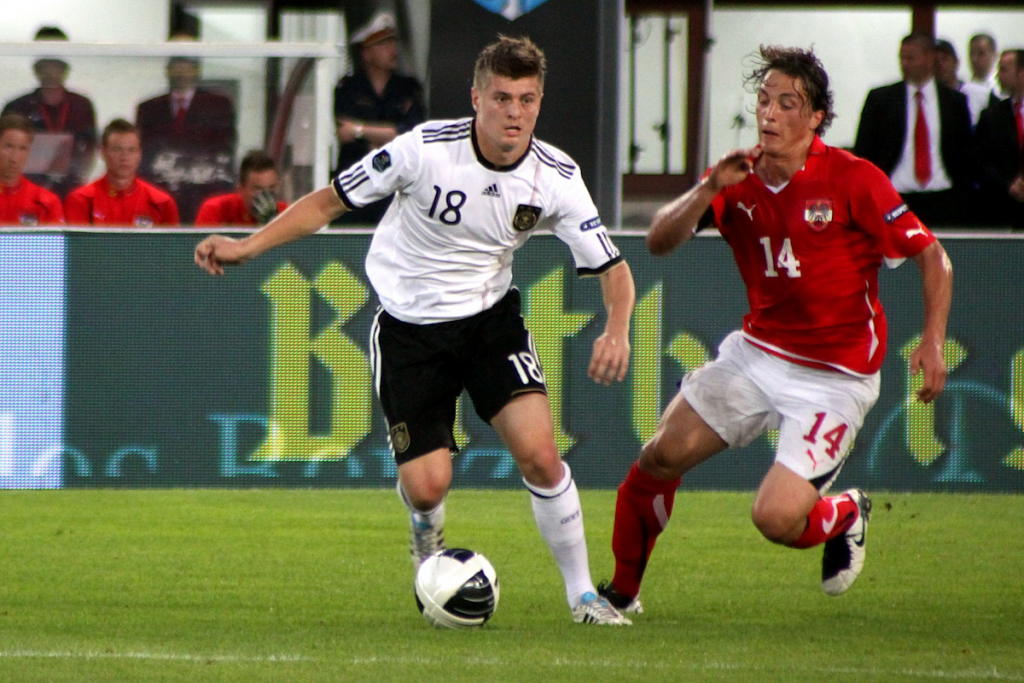 Toni Kroos (left) for Germany. Photo: Steindy