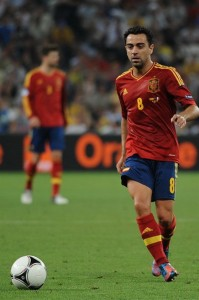Xavi in the European Championships 2012 , Spain vs France. Photo: Football.UA