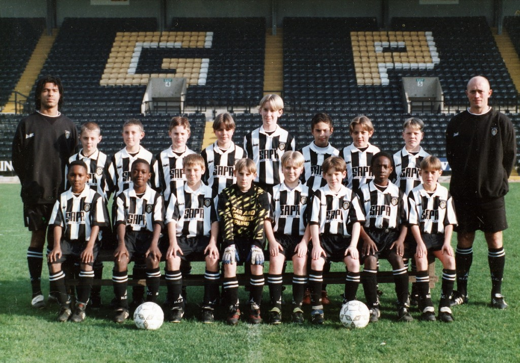 James Vaughan, (front row, third player from right) in his U12s Notts County Team, 1997.
