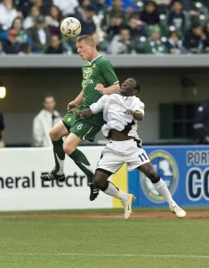 Knowles (left) for the Portland Timbers. Photo: oregonianphoto