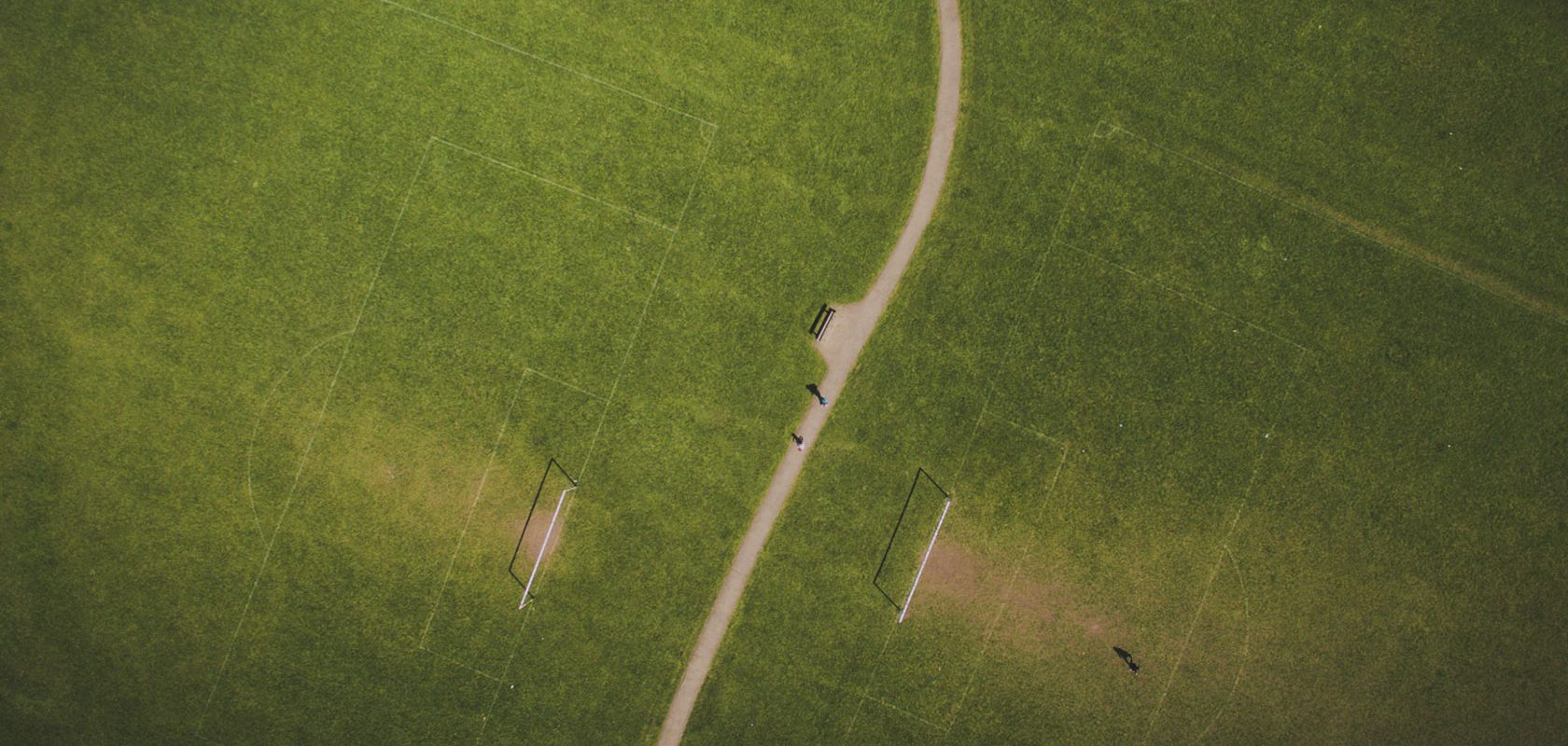 An aerial view of a football field.