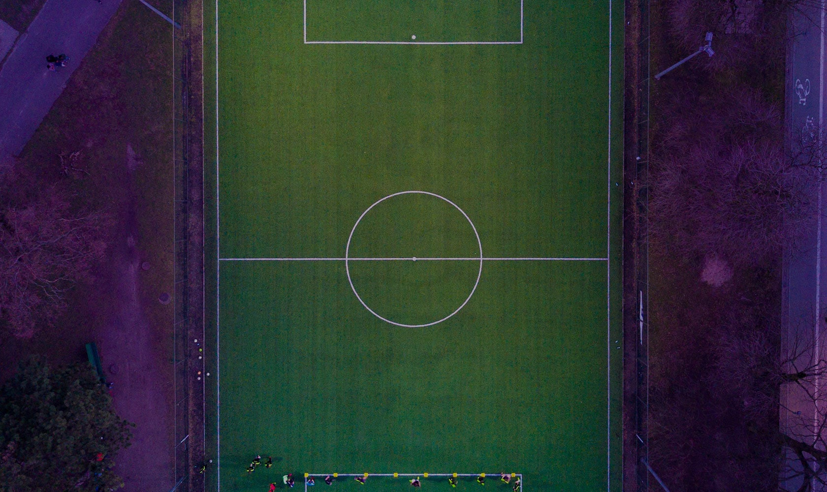 Aerial view of a football pitch.