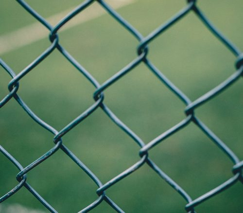 A close up view of a wire fence with a blurred field in the background. Photo: Andras Vas
