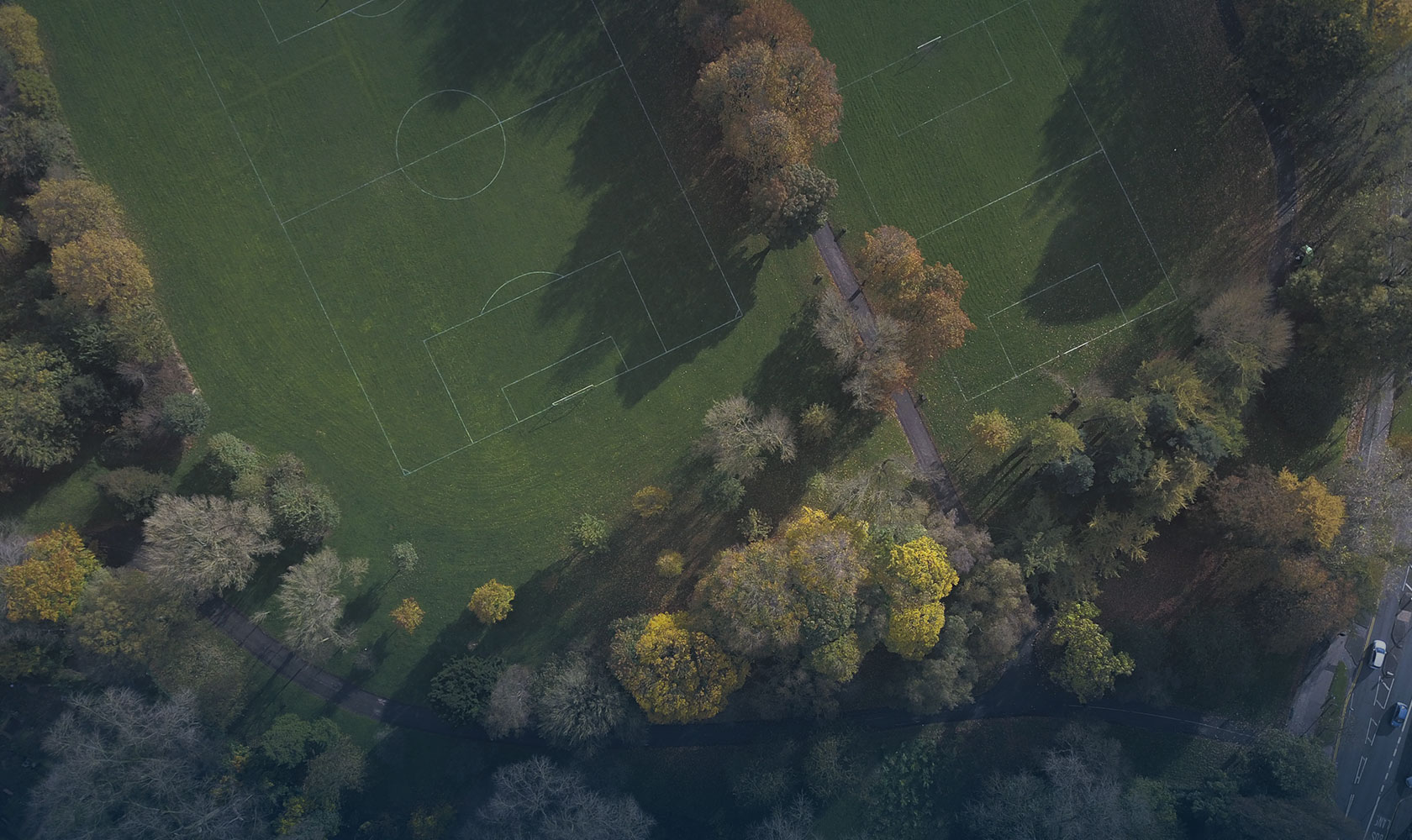 An aerial view of some forest and soccer fields. Photo: Relive Media