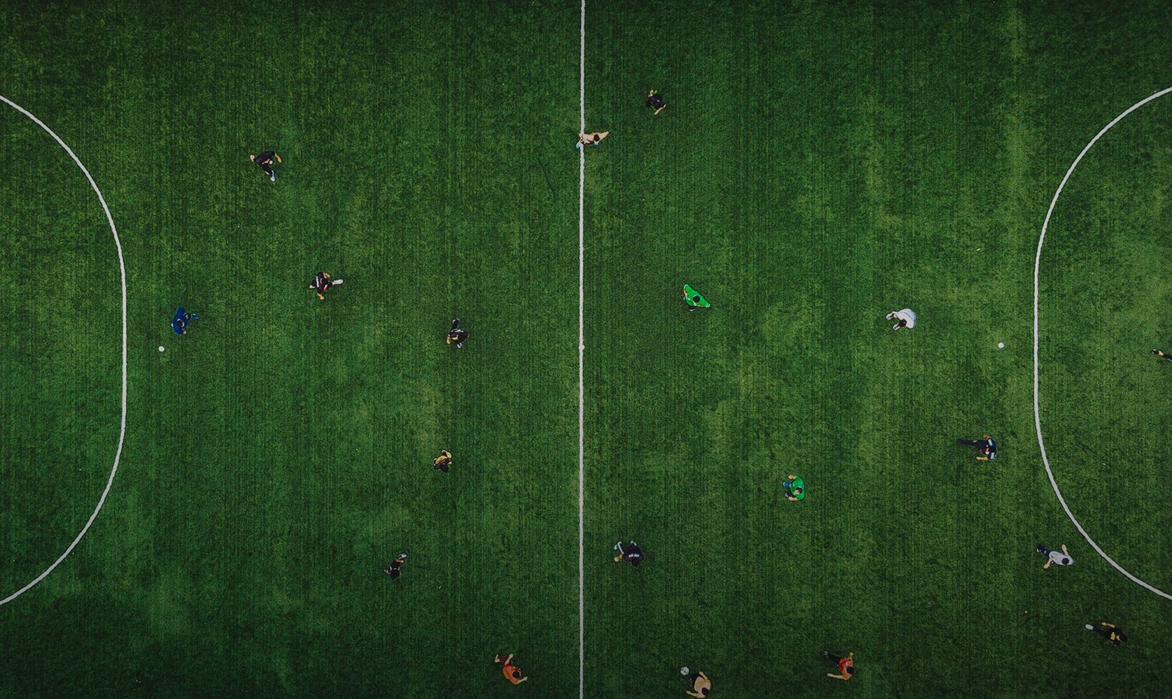 Aerial view soccer field