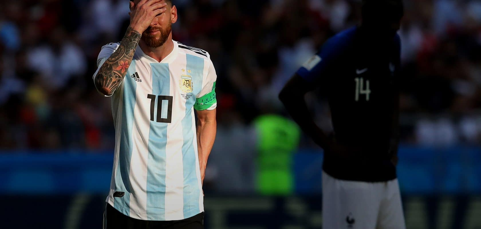 Lionel Messi and Argentina lose to France in the World Cup, 2018.