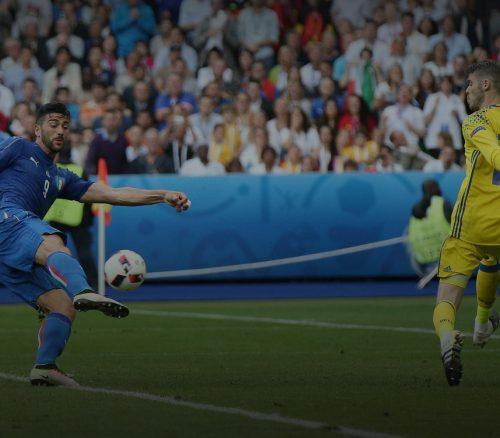 Graziano Pelle scores for Italy against Spain, Euro 2016. Photo: m.iacobucci.tiscali.it