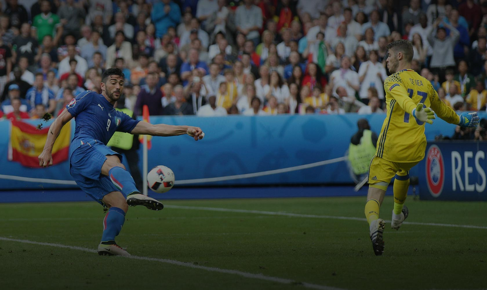 Graziano Pelle scores for Italy against Spain, Euro 2016. Photo: m.iacobucci.tiscali.it